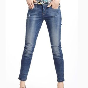Anthro Pilcro Stet Skinny Ankle Distressed Jean